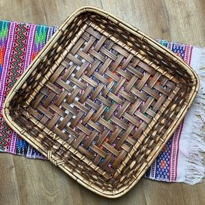 "15"" vintage wooden woven basket tray wall art"